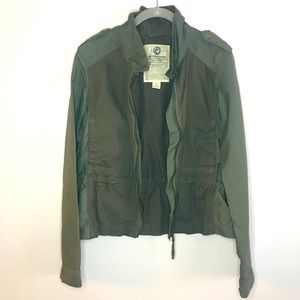Lucky Brand Green Zip Up Utility Army Jacket